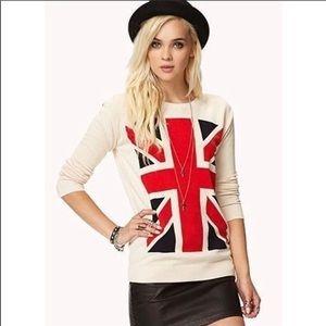 Forever21 Union Jack UK Ling Sleeve Sweater Med